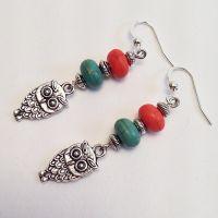 Owl Charm Orange & Turquoise Beaded Dangling Drop Earrings ...