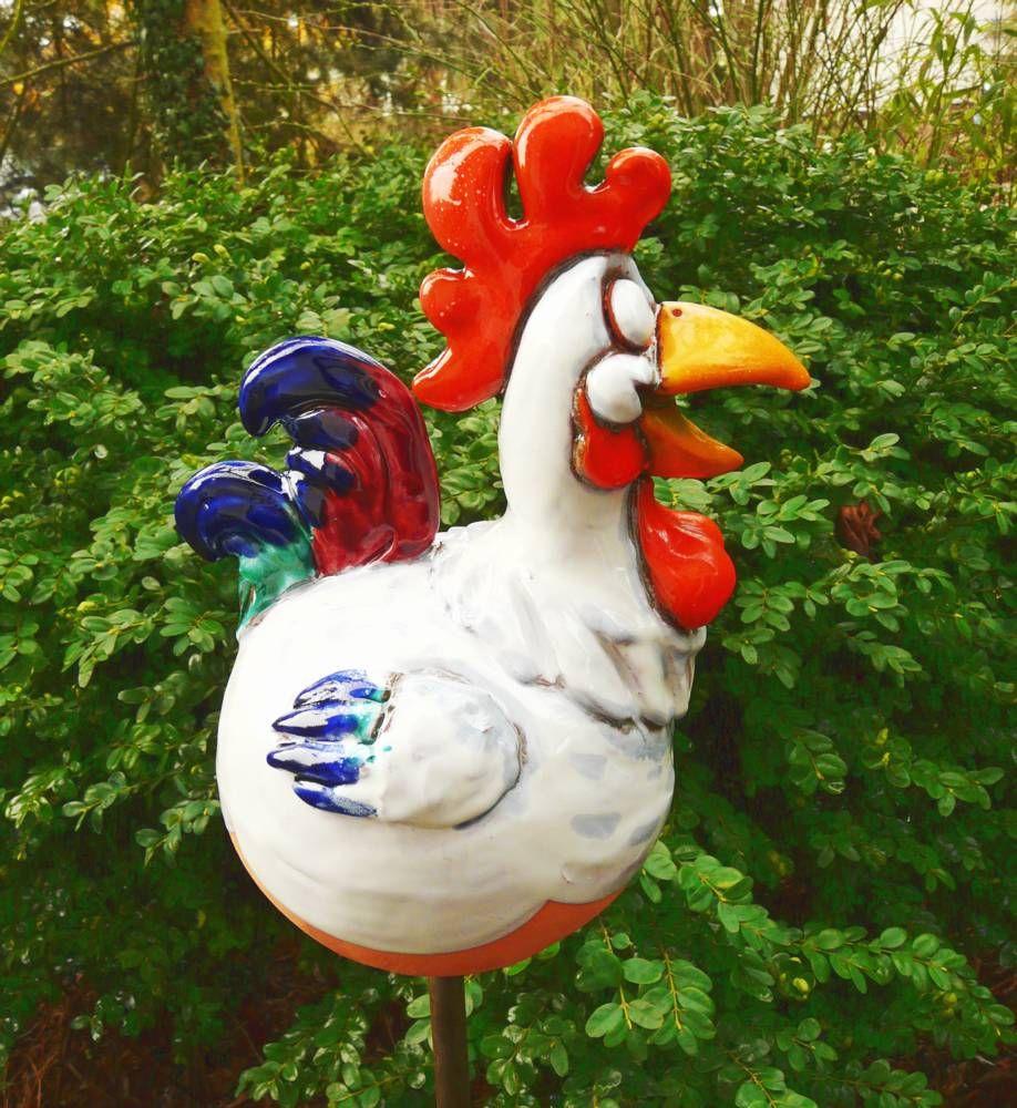 Hahn Huhn Gartenstecker Gartenfigur Garten Design Figur Keramik