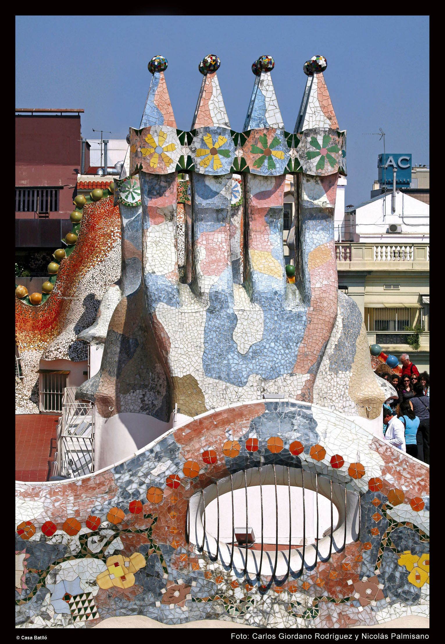 The colourful chimneys on the roof of Casa Batll  Casa Batll Gaud  Pinterest