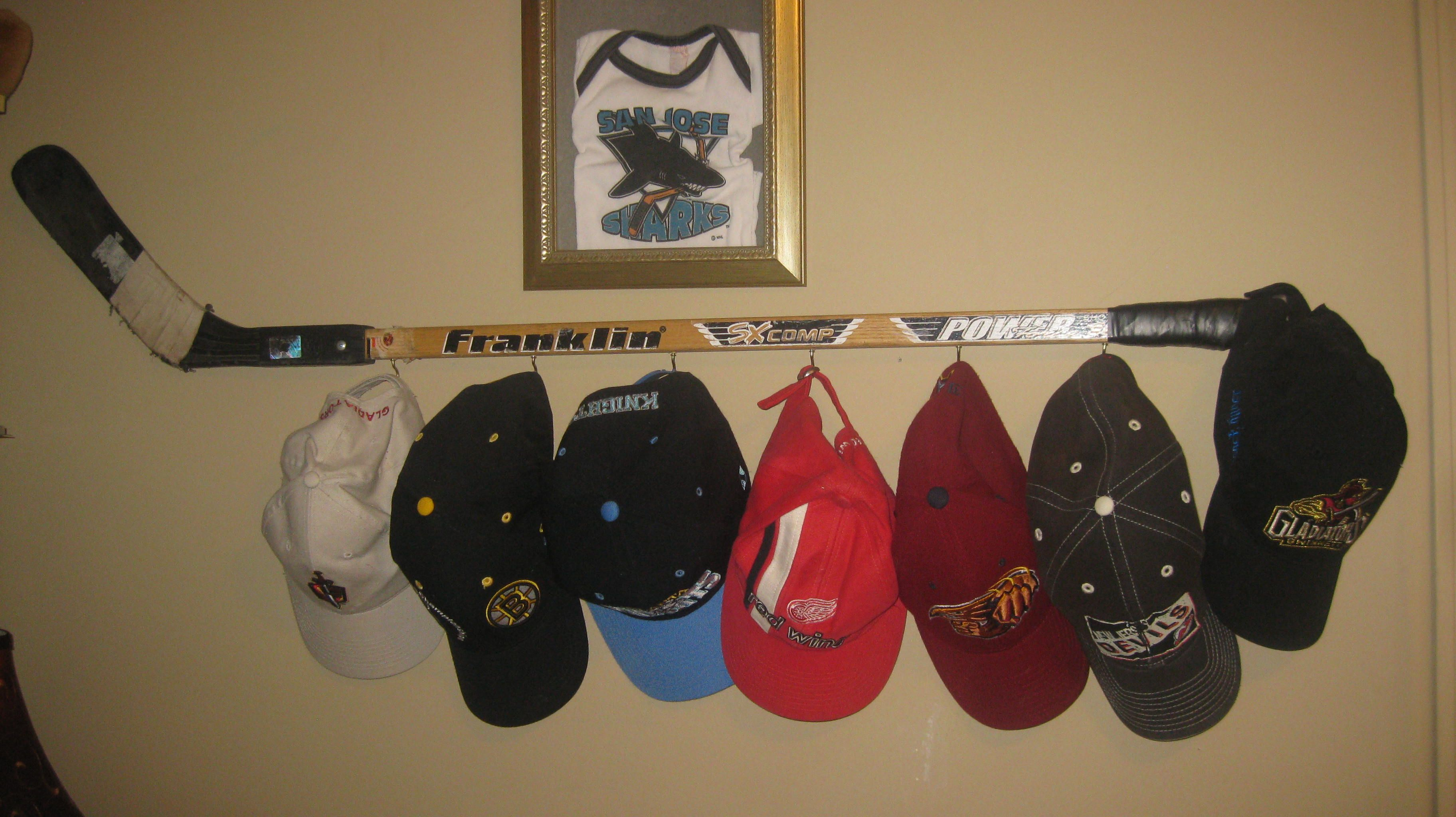 Needed A Hat Rack For All Those Hockey Hats Took Husbands