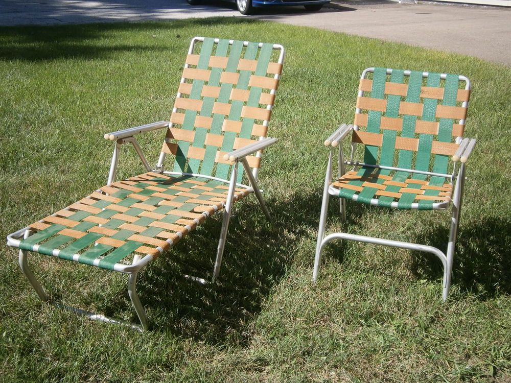 webbed chaise lounge chairs wicker folding uk vintage pair lawn chair aluminum outdoor patie deck | don't buy me this ...
