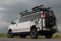 Love this GM 4x4 van! Aluminess roof rack and tire carrier ...
