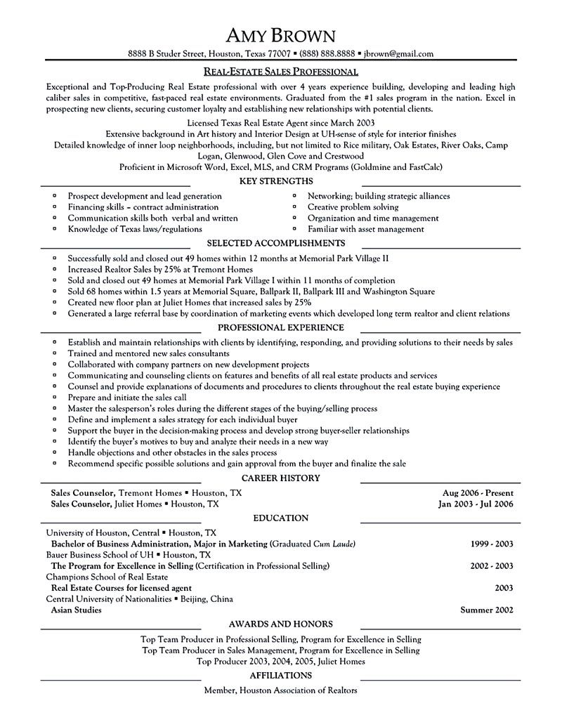 Real Estate Resume Examples Real Estate Resume Is Commonly Used