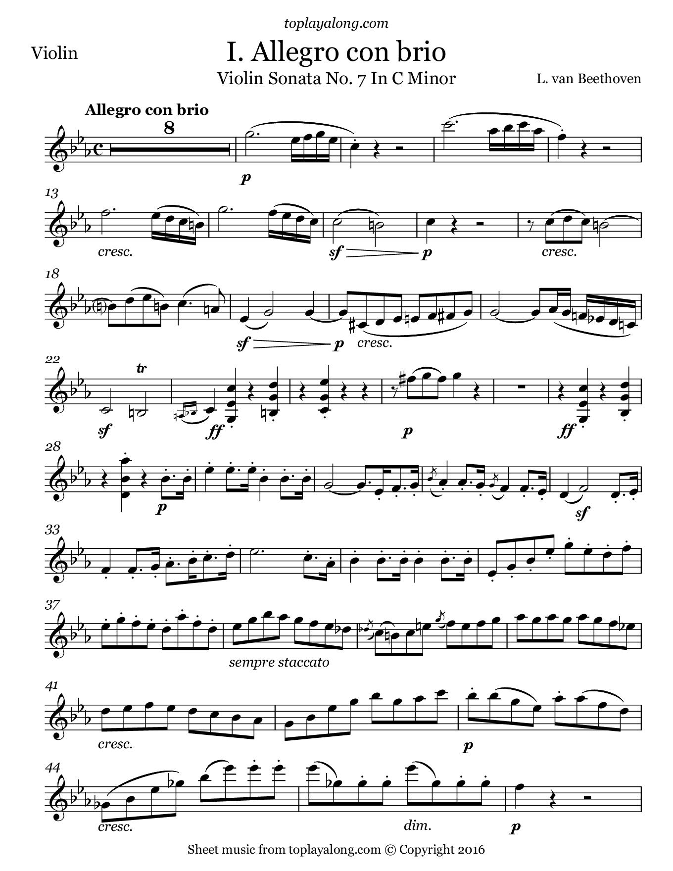 Violin Sonata No 7 I Allegro By Beethoven Free Sheet