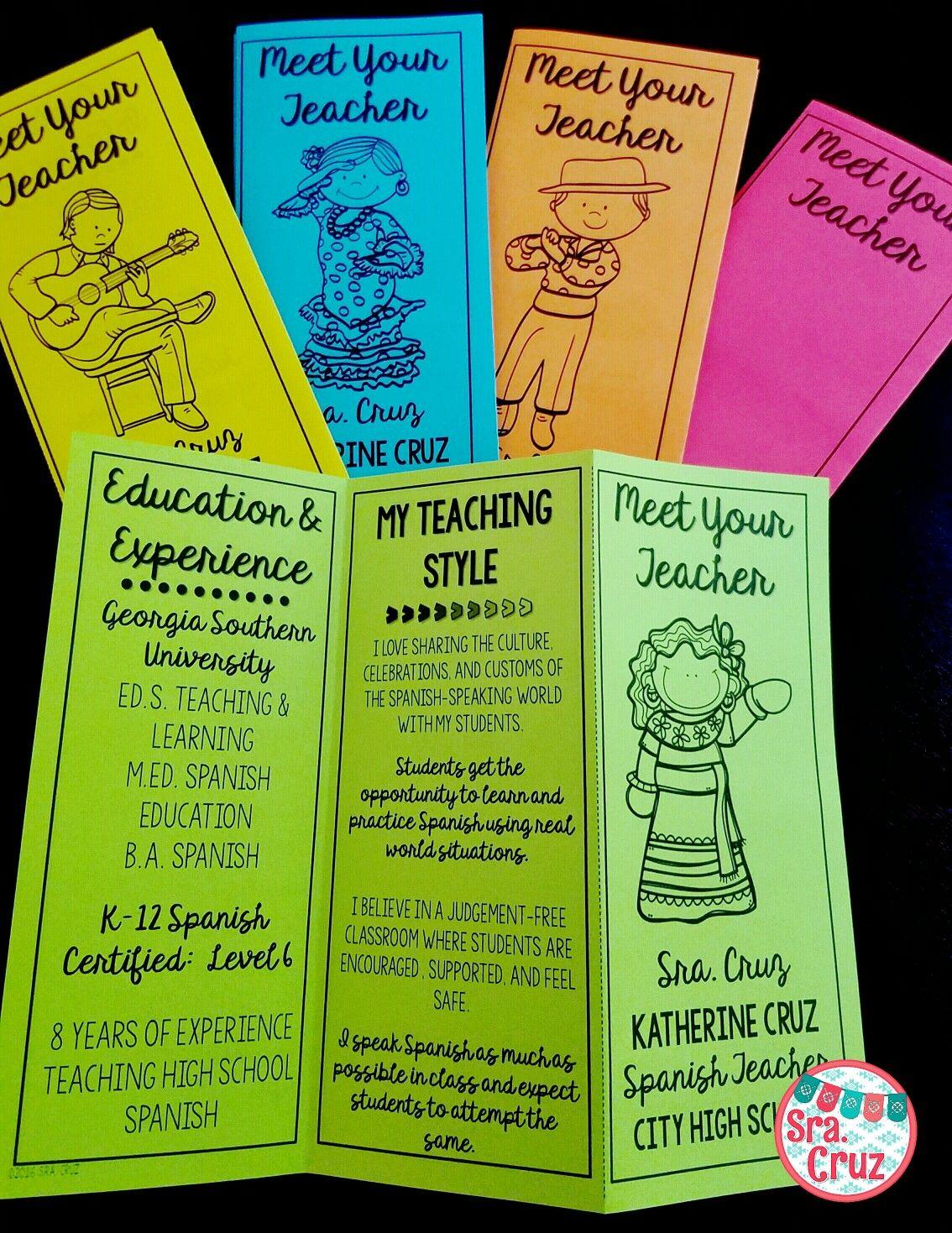 Meet The Teacher Brochure ENGLISH EDITABLE Teacher