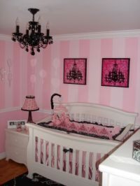 Paris themed nursery pink with black chandelier | Nursery ...
