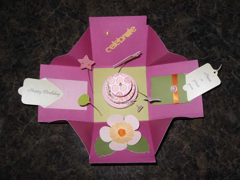 Exploding box birthday card interior made with dvwv