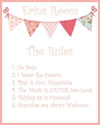 Girls Room Door Print, Pink Girls Room printable,The Rules ...
