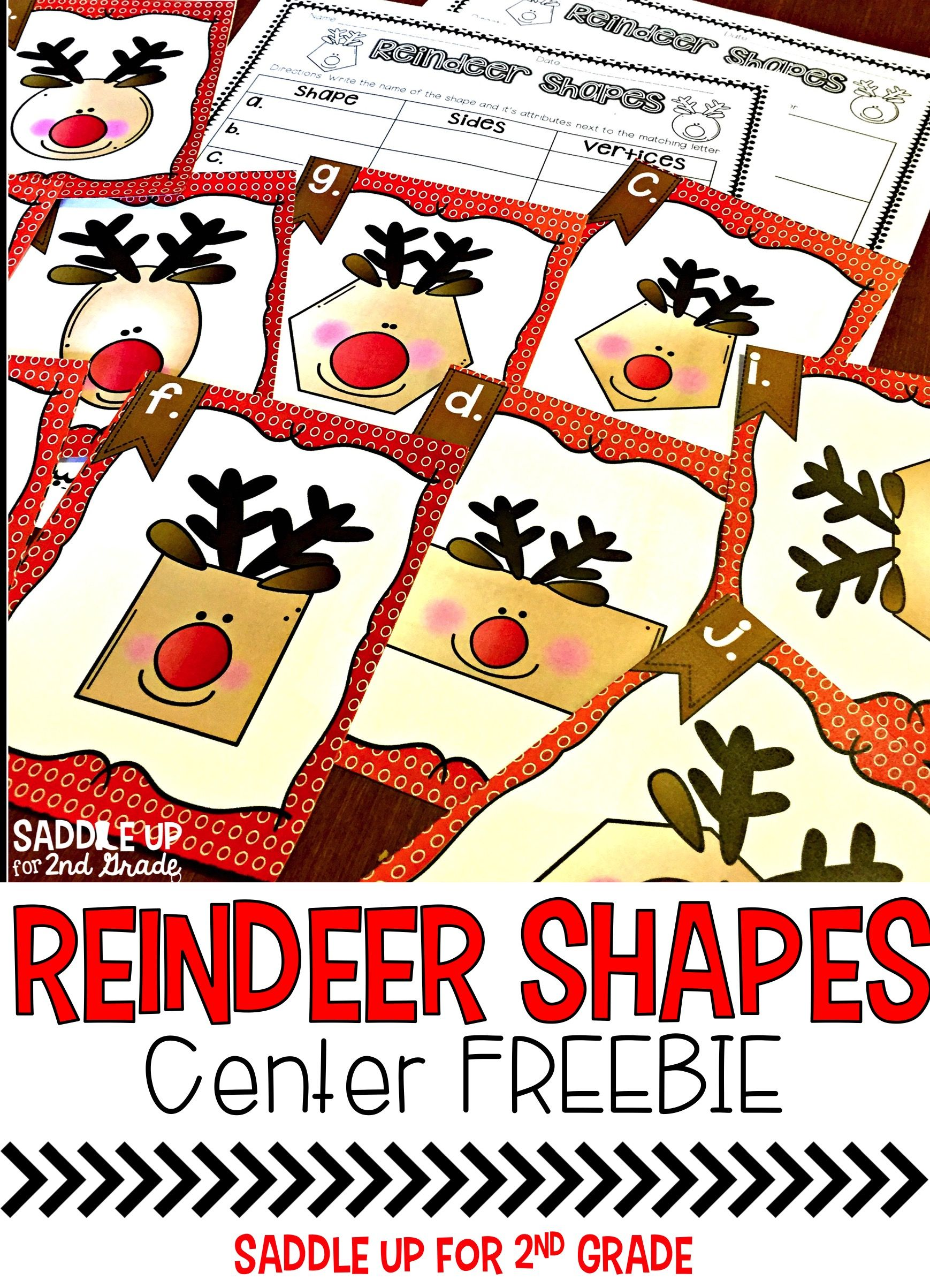 This Freebie Includes 10 Reindeer Themed 2d Shapes It Has Student Friendly Directions And Color