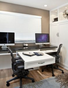 Built in long desk for  pull out extra space option smaller home office also love the extension perfect projects or days rh pinterest