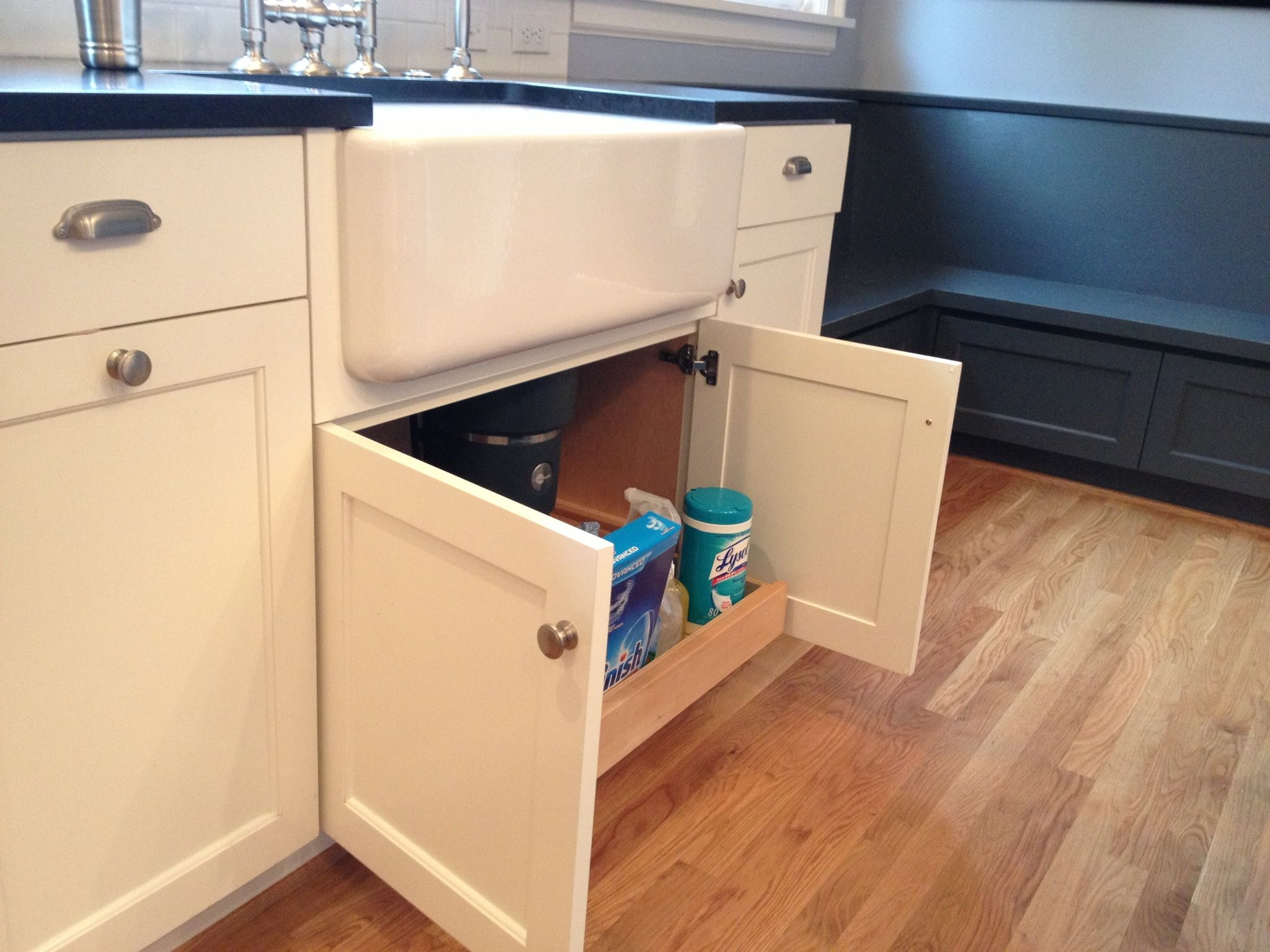 sink cabinet kitchen build your own outdoor island custom white cabinets with farmhouse pull out under