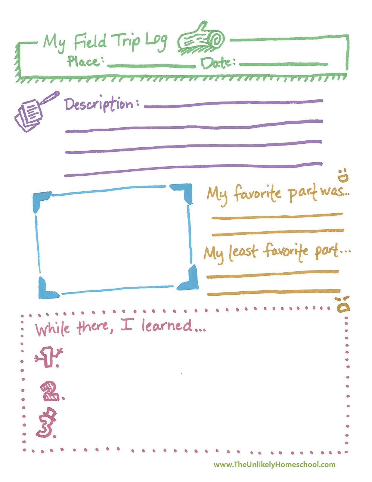 The Unlikely Homeschool Free Field Trip Log Notebook