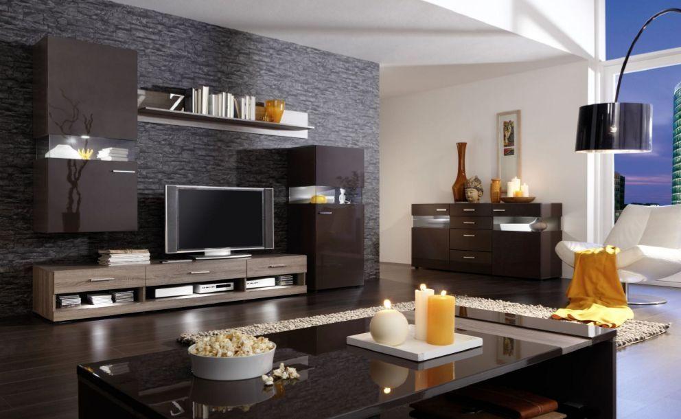 NELSON Wohnwand II Eiche dunkelbraun modern wohnzimmer inspiration materialmix clean