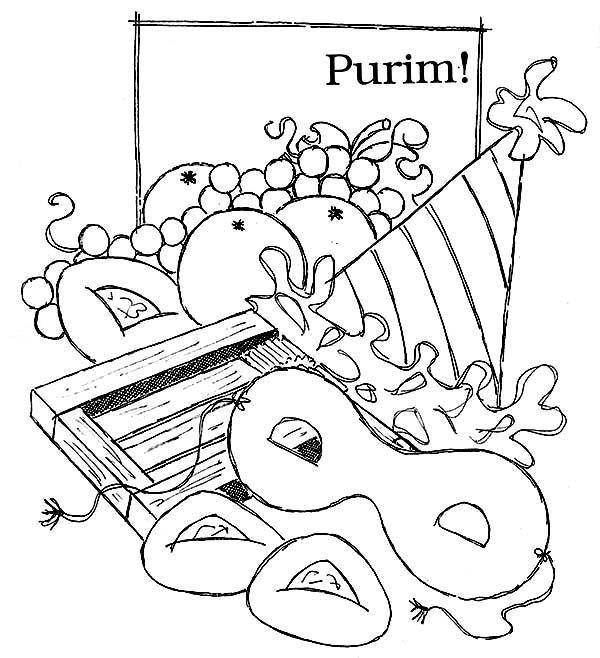 purim  purim holiday food coloring page  purim toddler