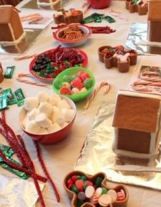 Gingerbread house building kids party for christmas also rh pinterest