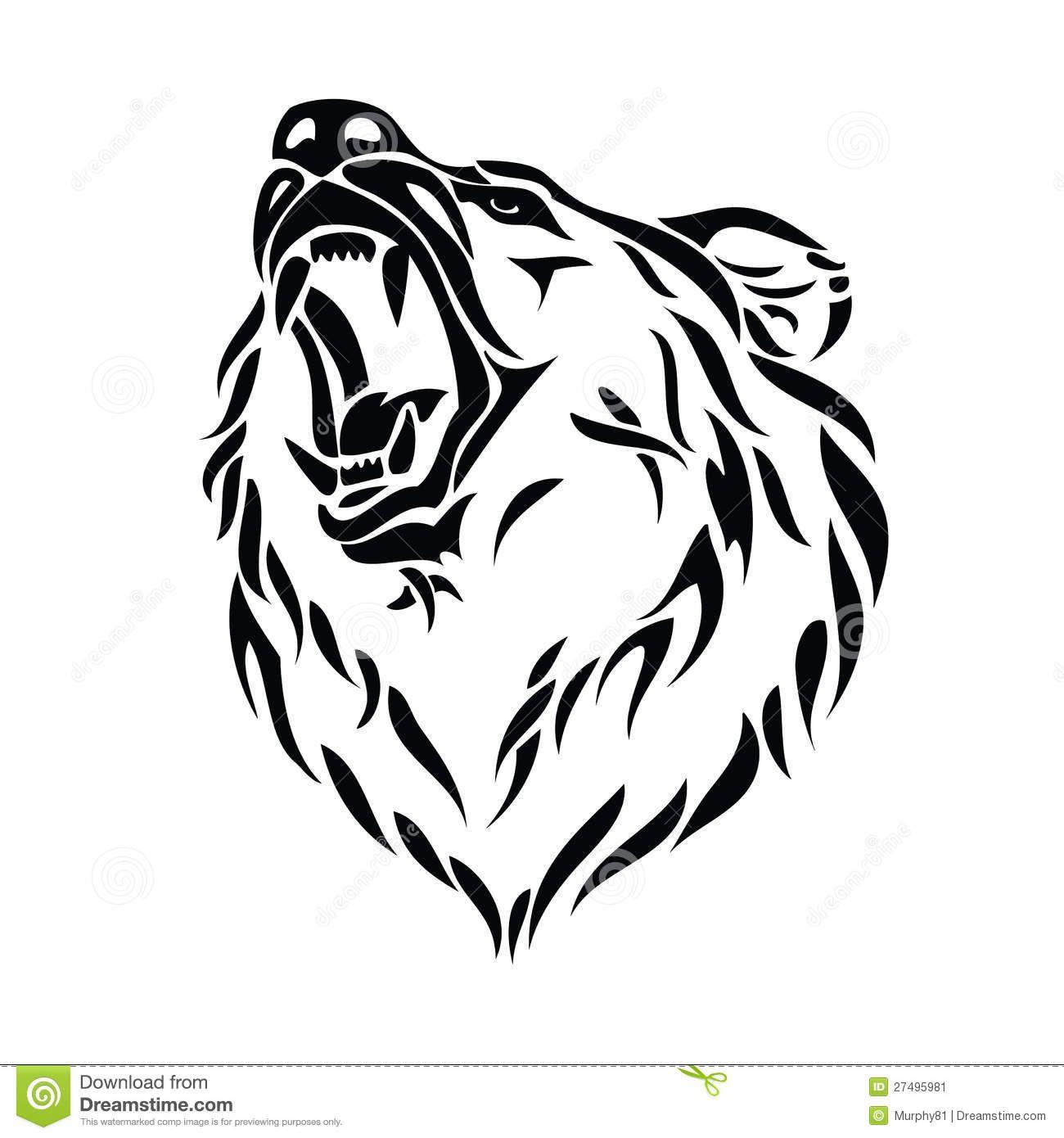 Grizzly Bear Head School Art