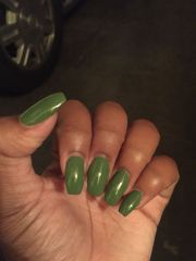 olive green nails coffin ballerina