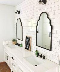 Bright White Bathroom, Double vanity, tile wall