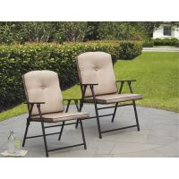 Mainstays Sand Dune Outdoor Padded Folding Chairs, Set of ...