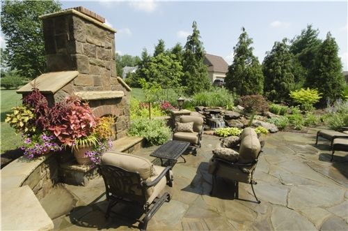 Tuscan Style Backyard Landscaping Fireplace Natural Water