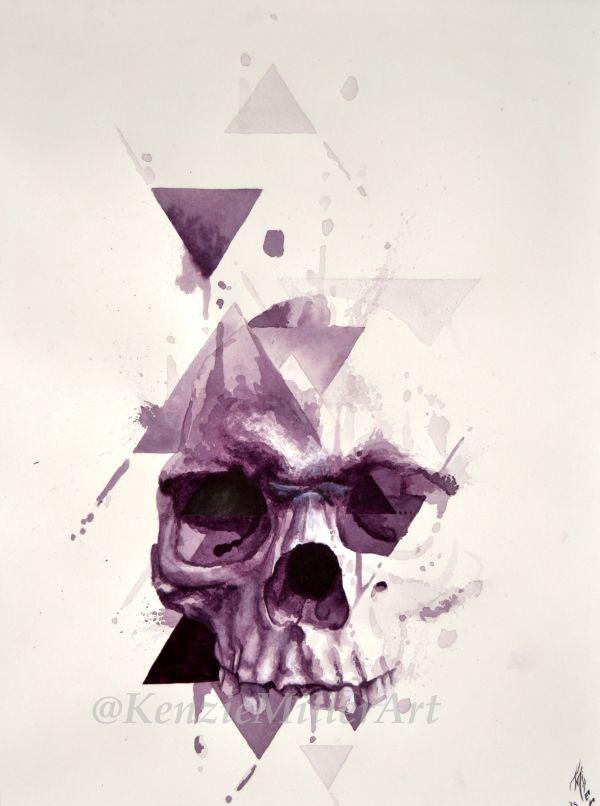 Watercolor Skull Art Kenziemillerart Https