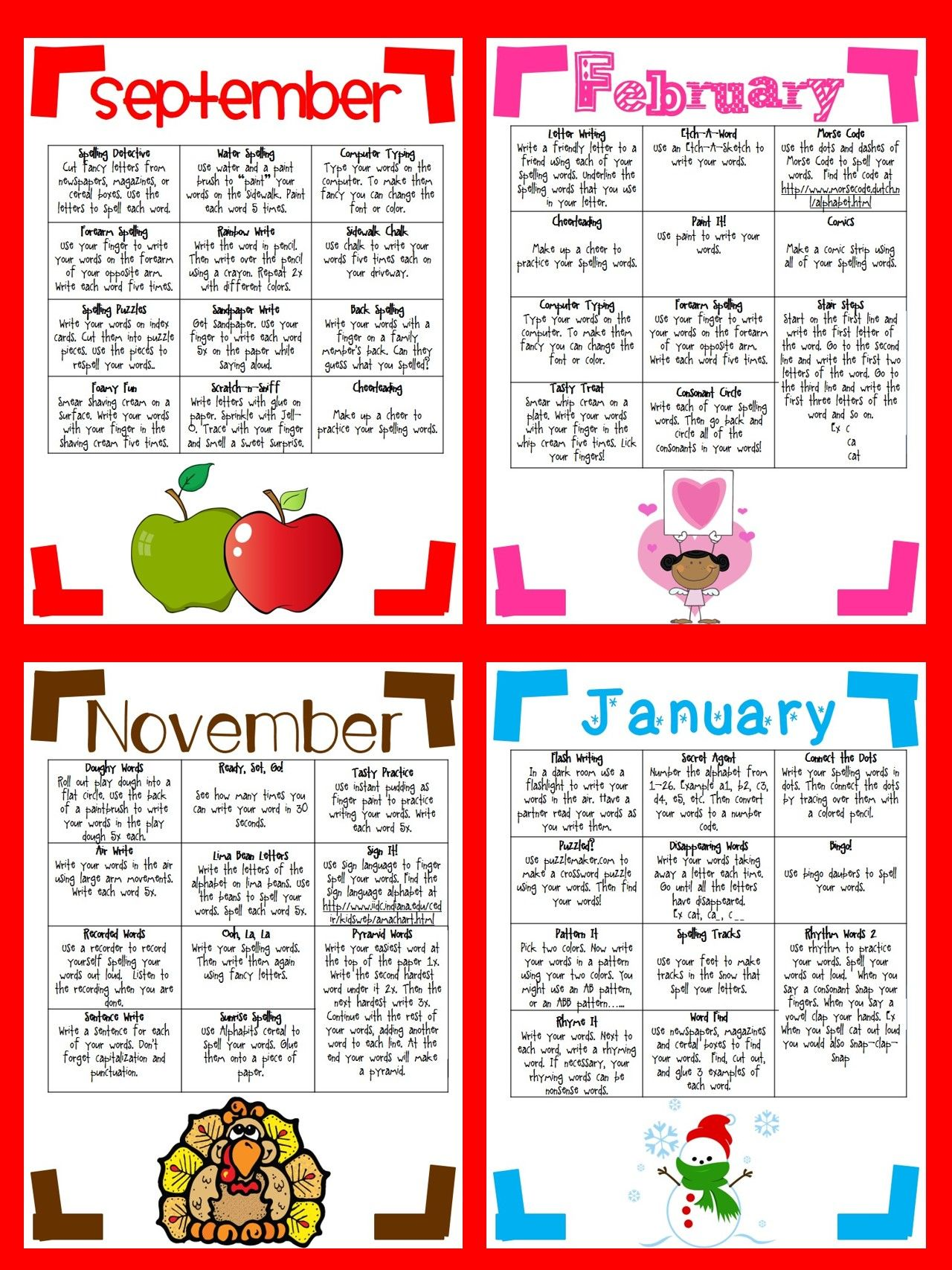 Monthly Themed Spelling Cafes 9