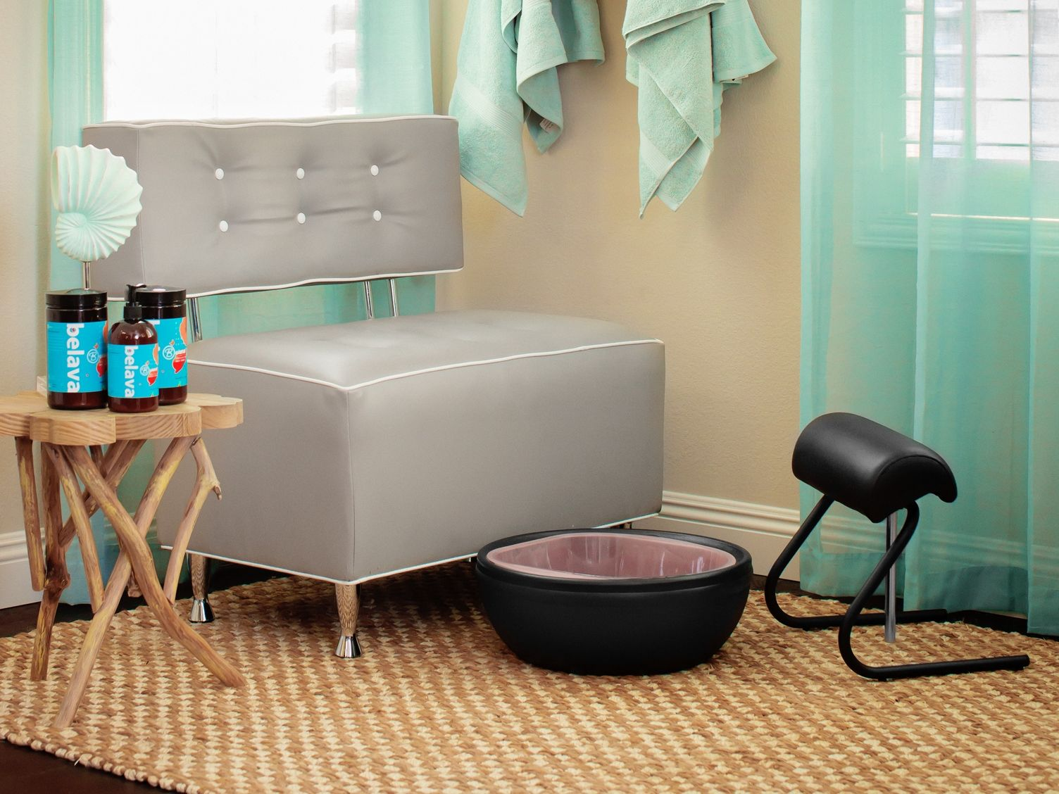 used no plumbing pedicure chair wheel motors the trio foot spa and freestanding footrest turn our lounge