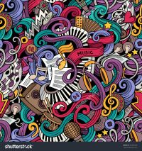 Cartoon Hand-Drawn Doodles On The Subject Of Music Style ...