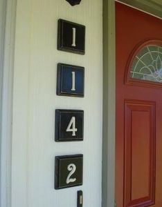 Wooden squares from any craft store with metal house numbers these were brass and spray painted heirloom white put them up finishing nails also they are just each rh pinterest