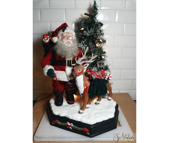 Rare Large Animated Motionette Santa Claus Reindeer