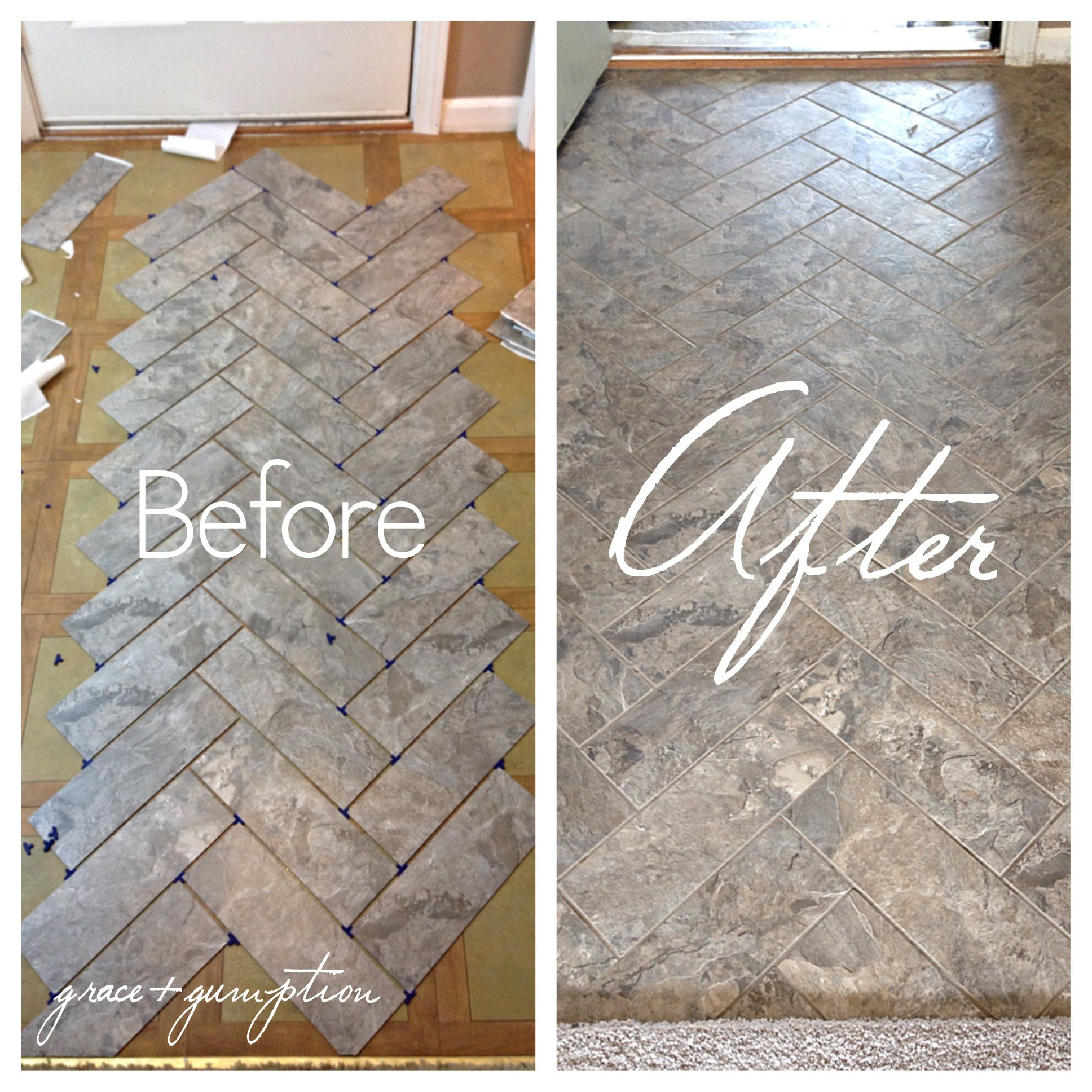 DIY Herringbone PeelnStick Tile Floor Before and After