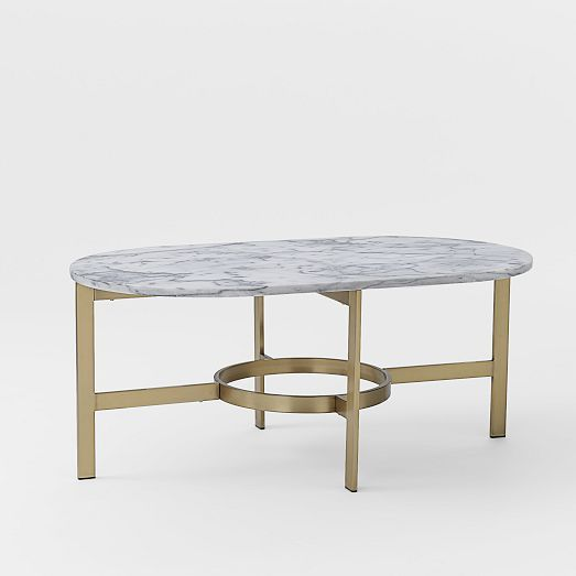 Marble Oval Coffee Table with Antique Brass Base // West