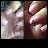 Light pink ombr biosculpture gel nails with small black ...
