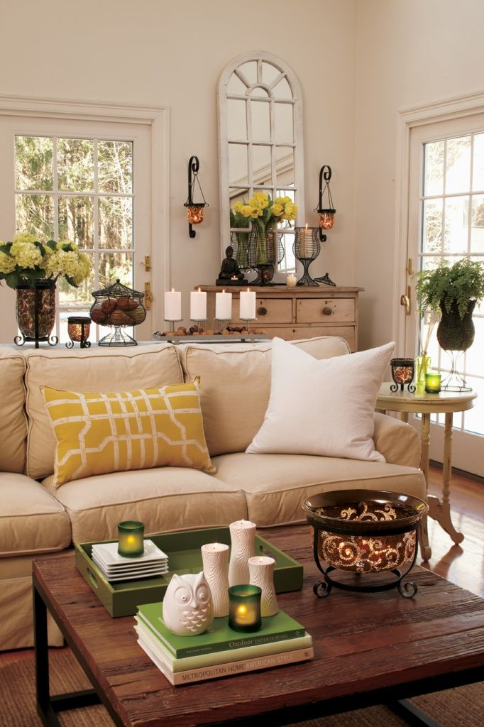 Earthy  neutral living room  love the pops of yellow and green as also rh pinterest