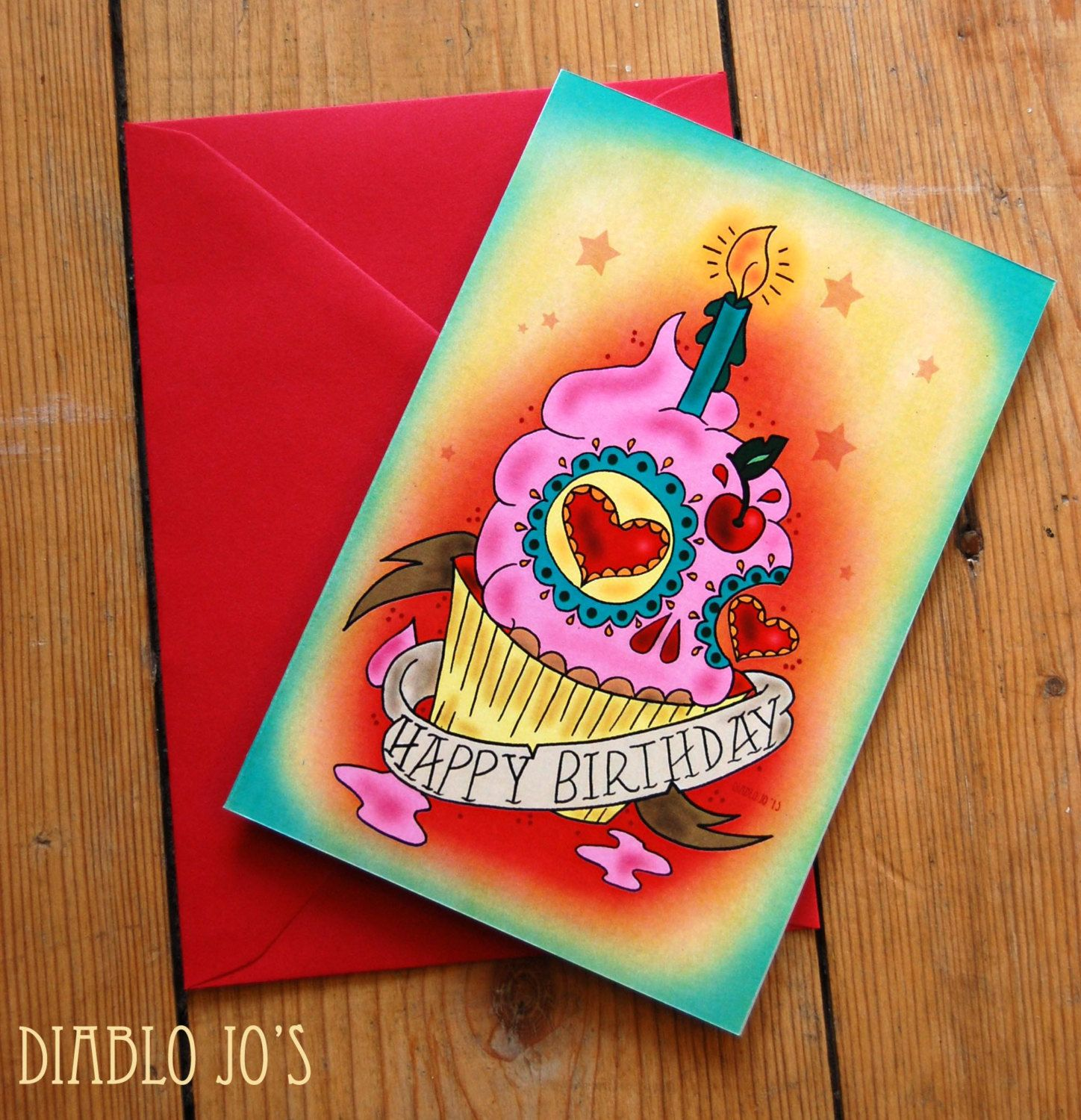 Happy Birthday Sugar Skull Cupcake Card With Tattoo Scroll