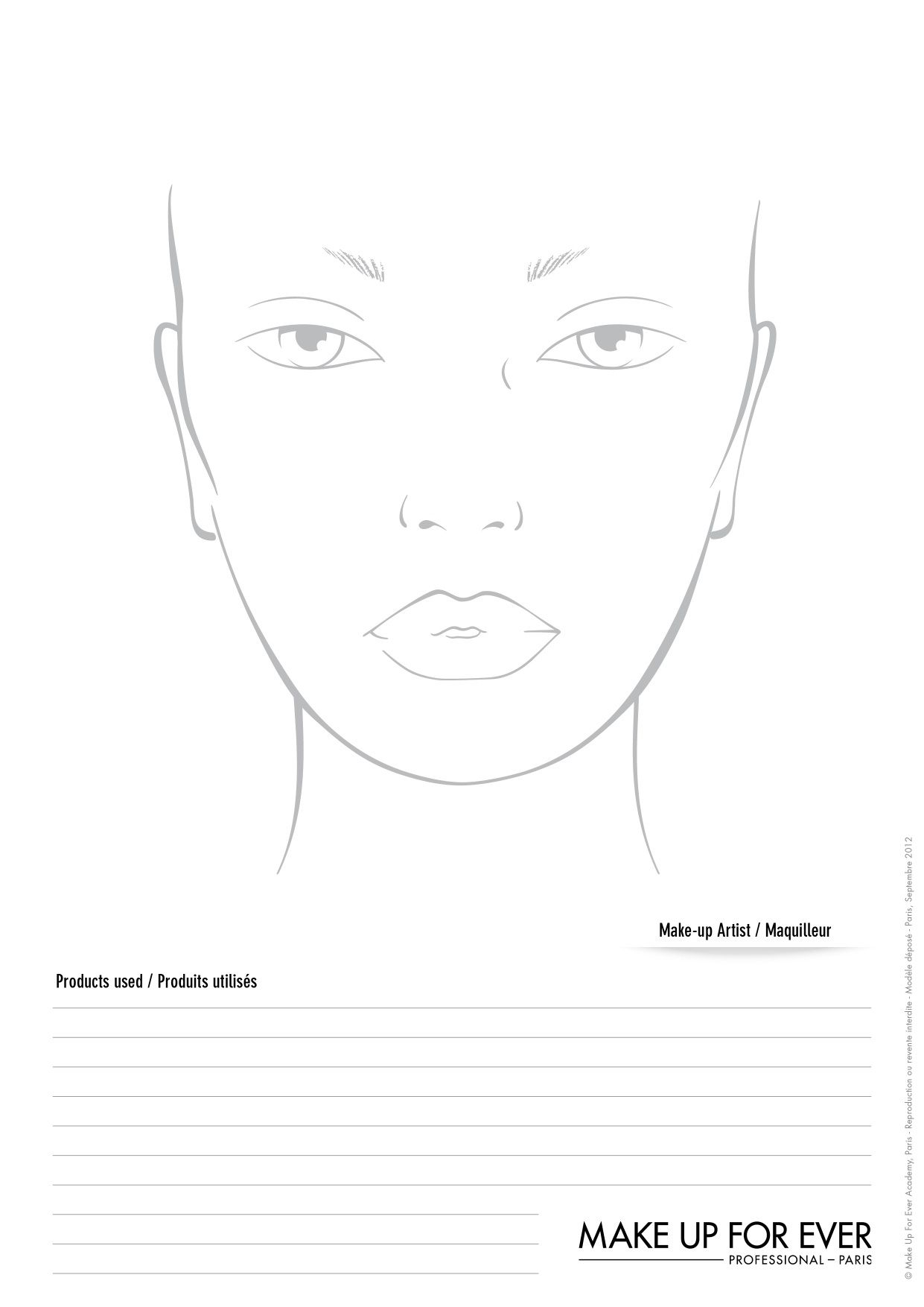 Makeup Forever Blank Face Chart