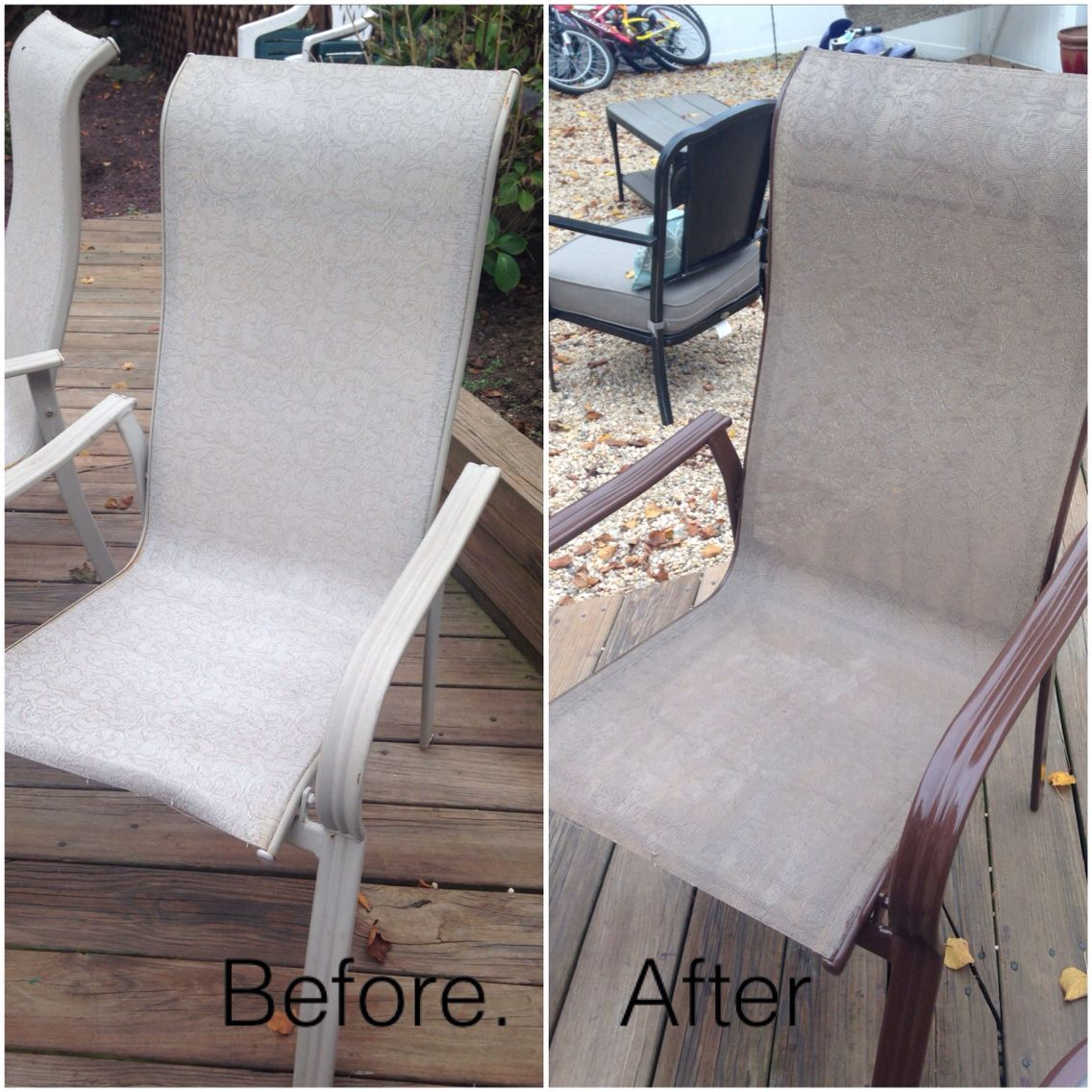 recover sling patio chairs rocker recliner nursery chair spray paint home painting
