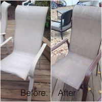 Old patio furniture ...no problem ! Spray paint fabric ...