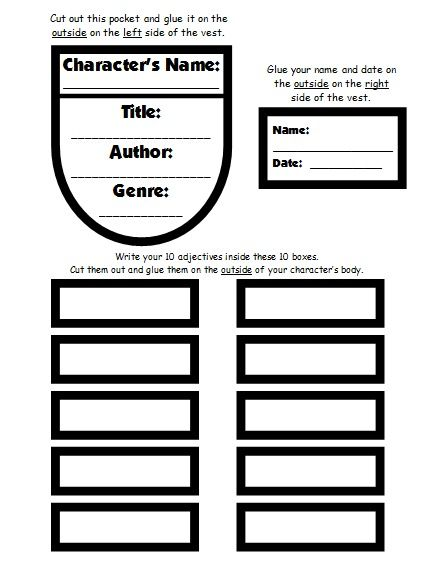 Character Body Book Report Project: templates, worksheets