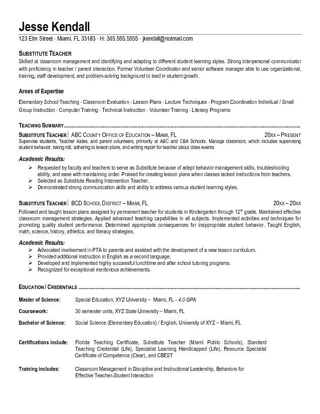 Substitute Teacher Resume Example Substitute School Teacher