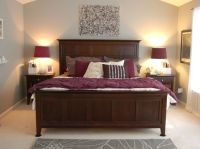 purple - gray room with natural wood furniture | bedroom ...
