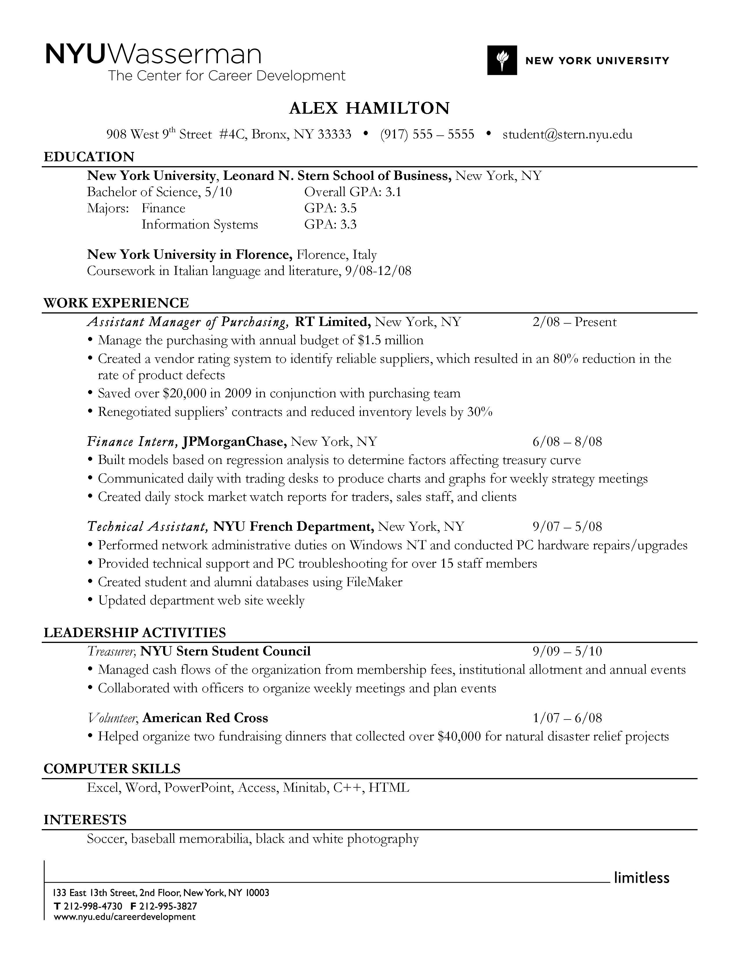 Activities Resume Examples Do Use A Reverse Chronological Order Resume Format To