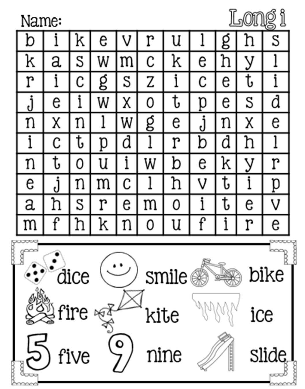Magic E Long I Word Search Free