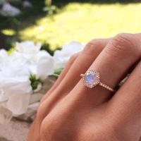 14kt gold and diamond moonstone hex ring   Moonstones ...