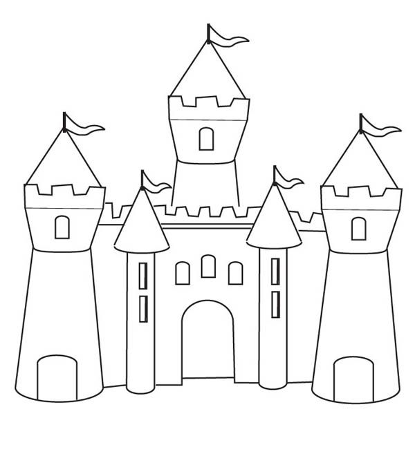 Medieval Castle, : How to Draw Medieval Castle Coloring