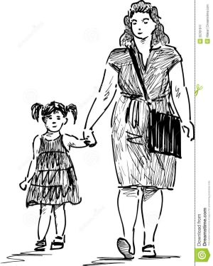 daughter mother drawing daughters walk drawings vector google mothers adult