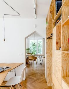 ingenious plywood partitions and drapes turn apartment into workspace also another space picture gallery wood pinterest rh
