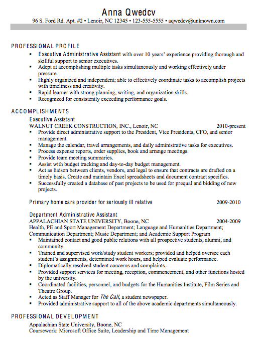 administrative assistant summary resumes