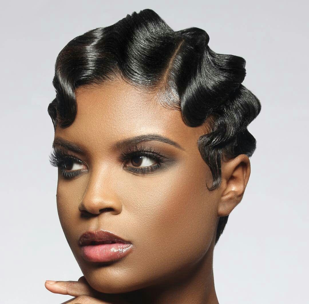 Black hair design  Black hair design  Pinterest  Black hair Hair style and Finger waves