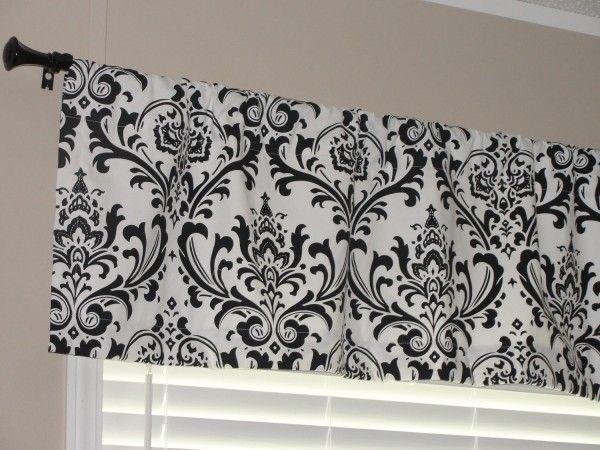 Living Room Magnetic Black White Valance With Rod Pocket Valance